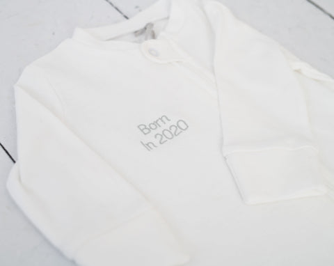 'Born in 2020' Zip Up Baby Grow