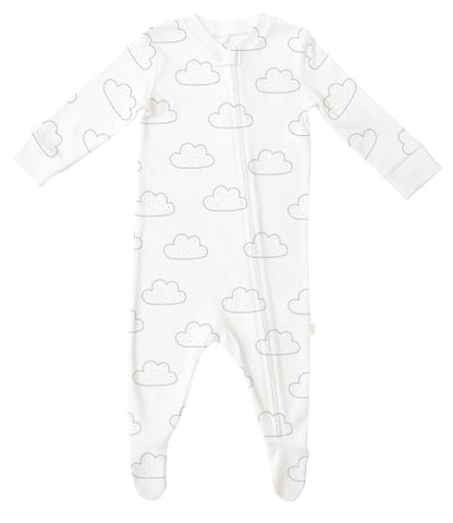 Zip Up Baby Grow - Cloud Print