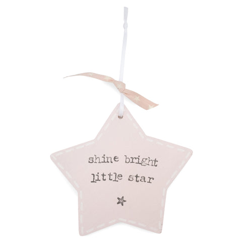'Shine Bright Little Star' -  Pink Star Keepsake Decoration