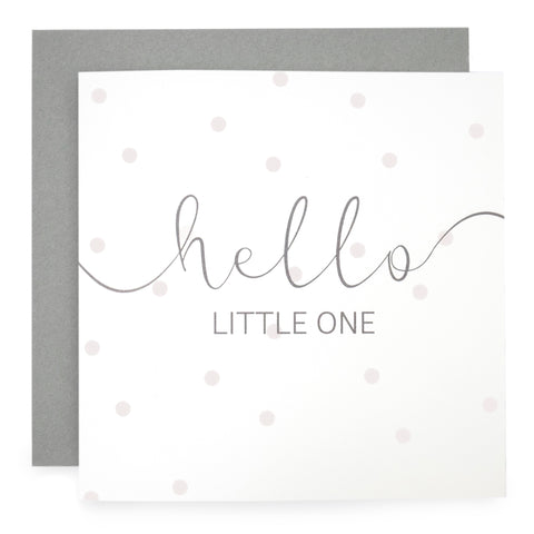 'Hello Little One' - Pink Dot Print Card