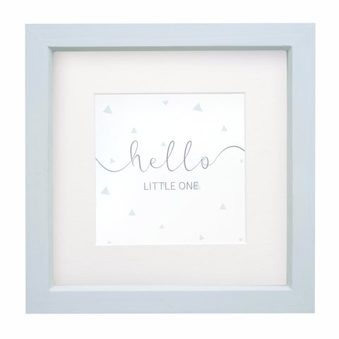 'Hello Little One' Framed Print - Pebble Blue