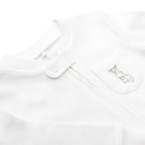 Zip Up Baby Grow - White 'Skippy Pocket' OUTLET