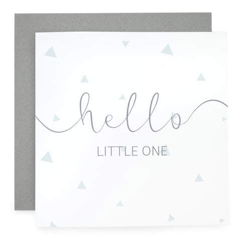 'Hello Little One' - Blue Geo Print Card
