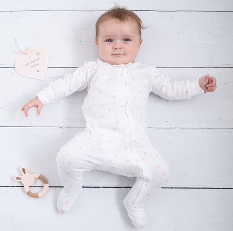 Zip up baby grow pink dot