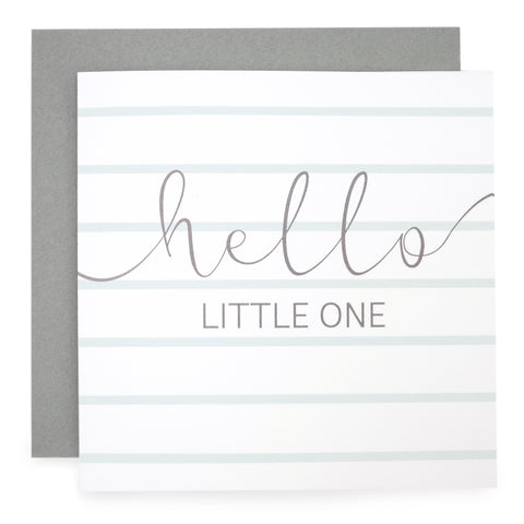'Hello Little One' -  Green Stripe Card