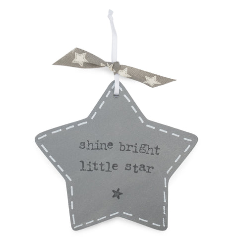 'Shine Bright Little Star' -  Grey Star Keepsake Decoration