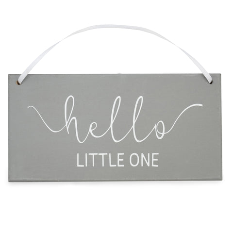 'Hello Little One' - Grey Hanging Sign