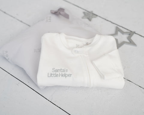 'Santa's Little Helper' Zip Up Baby Grow