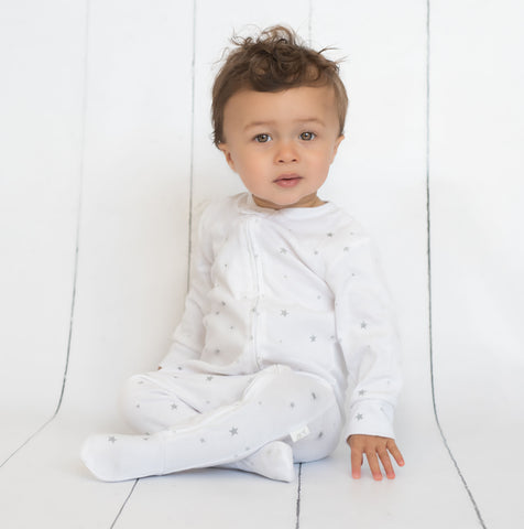 Zip Up Baby Grow - Star Print 'Shine Bright'