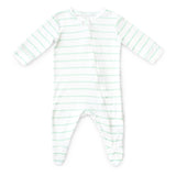 Zip Up Baby Grow - Mint Stripe 'Sleep Sweet'