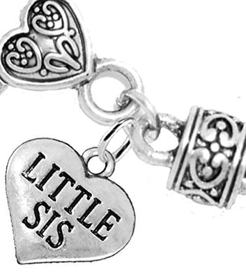 Little Sis Heart Charm Bracelet ©2016 Hypoallergenic, Safe, Nickel, Lead & Cadmium Free!