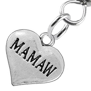 Mamaw Heart Charm Fishhook Earrings ©2016 Hypoallergenic, Safe - Nickel, Lead & Cadmium Free!