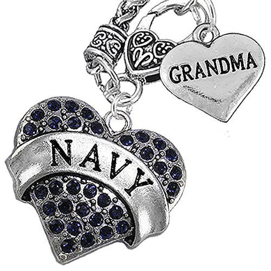 Navy Grandma Blue Crystal Heart Necklace, Will NOT Irritate Anyone with Sensitive Skin. Safe