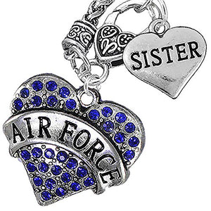 "Air Force ""Sister"" Heart Necklace, Will NOT Irritate Anyone with Sensitive Skin. Safe - Nickel Free"
