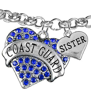 "Coast Guard ""Sister"" Heart Bracelet, Adjustable, Will NOT Irritate Anyone with Sensitive Skin. Safe"