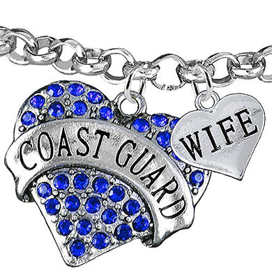 Coast Guard Wife Heart Bracelet, Adjustable, Will NOT Irritate Anyone with Sensitive Skin
