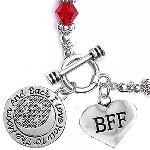 "BFF ""I Love You to The Moon & Back"", Red Crystal Charm Bracelet, Safe, Nickel Free."