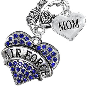 "Air Force ""Mom"" Heart Necklace, Will NOT Irritate Anyone with Sensitive Skin. Nickel & Lead Free"