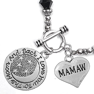 Mamaw, I Love You to The Moon & Back Jet Crystal Charm Bracelet, Safe, Nickel Free.