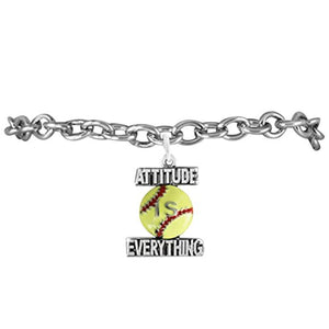 "Girls Softball ""Attitude Is Everything"" Yellow Softball Charm, Adjustable, Hypoallergenic Bracelet"
