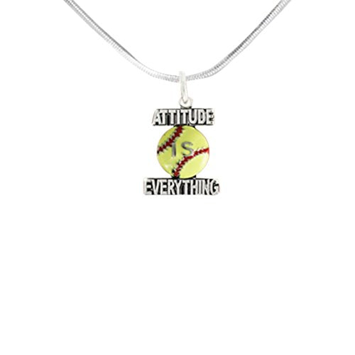 "softball ""attitude is everything""  ©2011 hypoallergenic adjustable necklace. nickel & lead free."