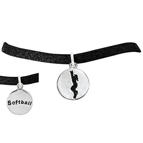 the perfect gift 2-sided softball charm adjustable bracelet  ©2016 safe - nickel & lead free