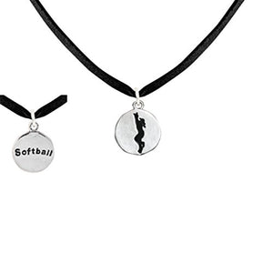 "Softball Two-Sided Charm ""Girl Catching Ball"" & word ""Softball"" ©2011 Necklace Nickel & Lead Free"
