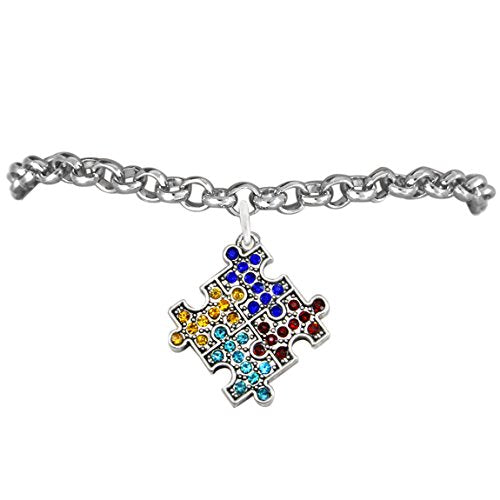 Autism Crystal Puzzle Piece, Hypoallergenic Adjustable Bracelet. Nickel, Cadmium, and Lead Free