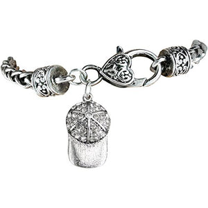 "The Perfect Gift ""Softball Genuine Crystal Cap Charm"" Bracelet ©2012 Safe - Nickel & Lead Free"