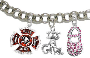"Firefighter ""Mom"", ""It's A Girl"", Adjustable Bracelet, Hypoallergenic, Safe - Nickel & Lead Free"