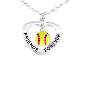 "Softball ""Friends Forever"" ©2007 Hypoallergenic Necklace. Nickel, Lead, Cadmium Free."