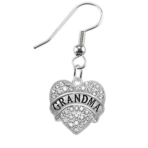 Grandma Crystal Heart Earrings, Safe - Hypoallergenic, Nickel, Lead & Cadmium Free!