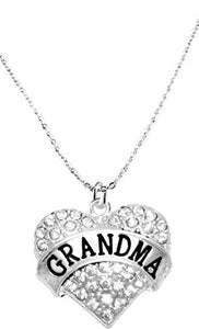 Grandma Crystal Heart Necklace, Safe - Hypoallergenic, Nickel, Lead & Cadmium Free!