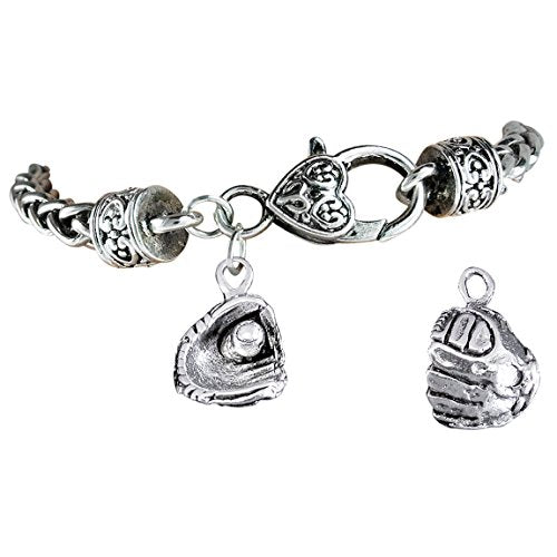 """the perfect gift """"softball ball in glove charm"""" bracelet  ©2012 safe - nickel & lead free"""