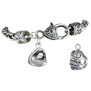 "The Perfect Gift ""Softball Ball in Glove Charm"" Bracelet ©2012 Safe - Nickel & Lead Free"