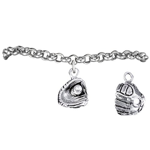 "the perfect gift ""softball ball in glove charm"" bracelet  ©2012 adjustable, safe - nickel & lead free"