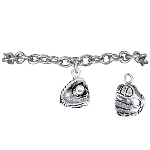 """the perfect gift """"softball ball in glove charm"""" bracelet  ©2009 safe - nickel & lead free"""