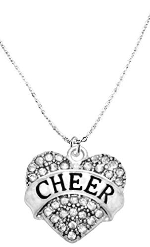 cheer crystal heart necklace, safe - hypoallergenic, nickel, lead & cadmium free!