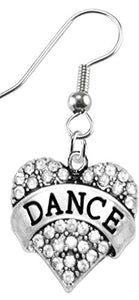 Dance Crystal Heart Earrings, Safe - Hypoallergenic, Nickel, Lead & Cadmium Free!