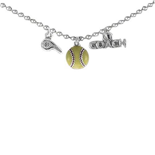 softball coach hypoallergenic adjustable necklace safe - nickel & lead free