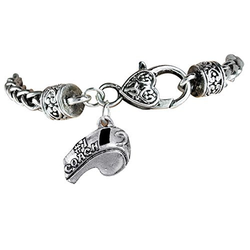"the perfect gift ""softball #1 coach whistle charm"" bracelet  ©2012 safe - nickel & lead free"
