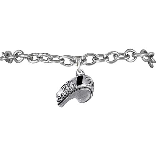 "the perfect gift ""softball #1 coach whistle charm"" bracelet  ©2009 safe - nickel & lead free"