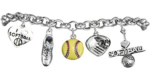 Girls' Softball Bracelet ©2012 Hypoallergenic Safe Nickel & Lead Free. Child to Adult