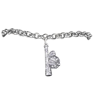 "Great Gift ""Softball Genuine Crystal Bat & Ball Cap Charm"" Bracelet ©2012 Safe - Nickel & Lead Free"