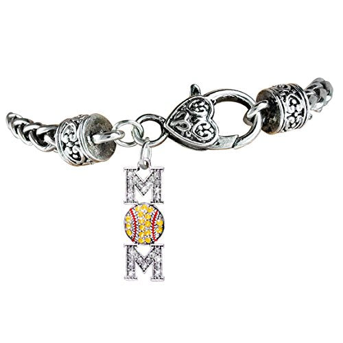 "perfect gift ""softball genuine crystal softball mom charm"" bracelet  ©2012 safe - nickel & lead free"