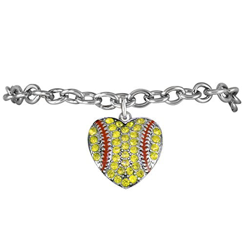 """the perfect gift """"crystal softball heart bracelet""""  ©2013 hypoallergenic, safe - nickel & lead free"""