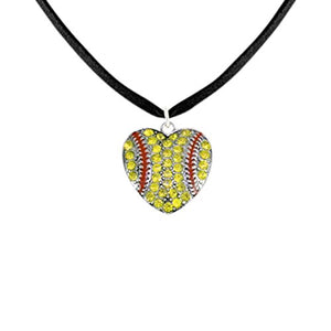 Crystal Softball Heart Hypoallergenic Adjustable Necklace Safe - Nickel & Lead Free