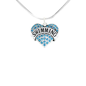 Aquamarine Swimming Crystal Heart Necklace Adjustable Safe - Nickel & Lead Free!