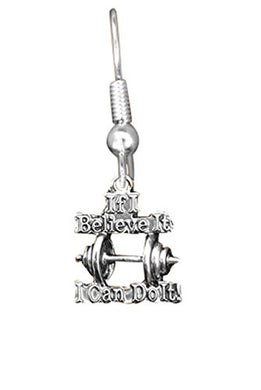 If I Believe It I Can Do It Weight Lifter Hypoallergenic Earring, Safe - Nickel Free!