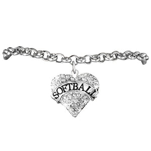"Softball ""Genuine Crystal Heart"" Hypoallergenic Bracelet, Nickel, Lead, Cadmium Free."